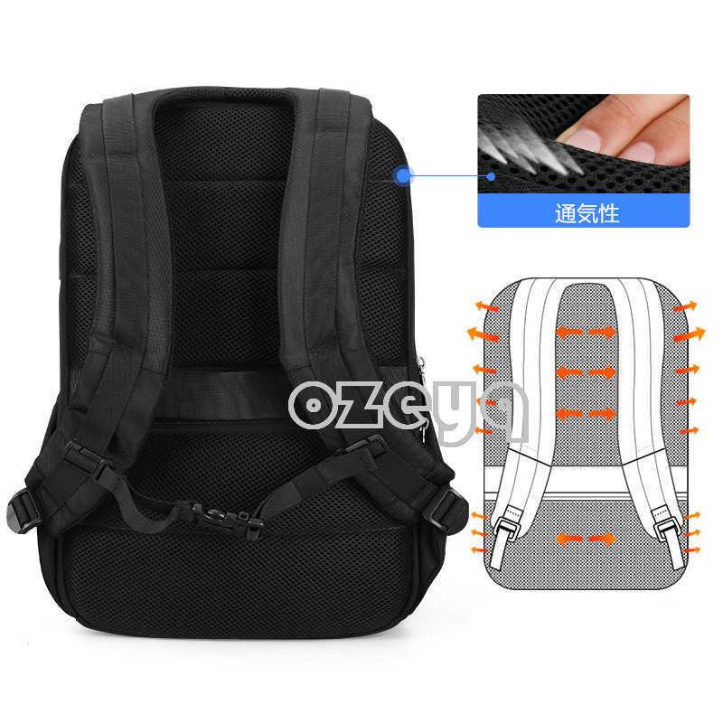 収納力抜群!リュックサックバッグ メンズ パックバック タウンリュック 盗難防止 USBポート PC対応 防水 多機能 通勤出張旅行 黒A275_画像5