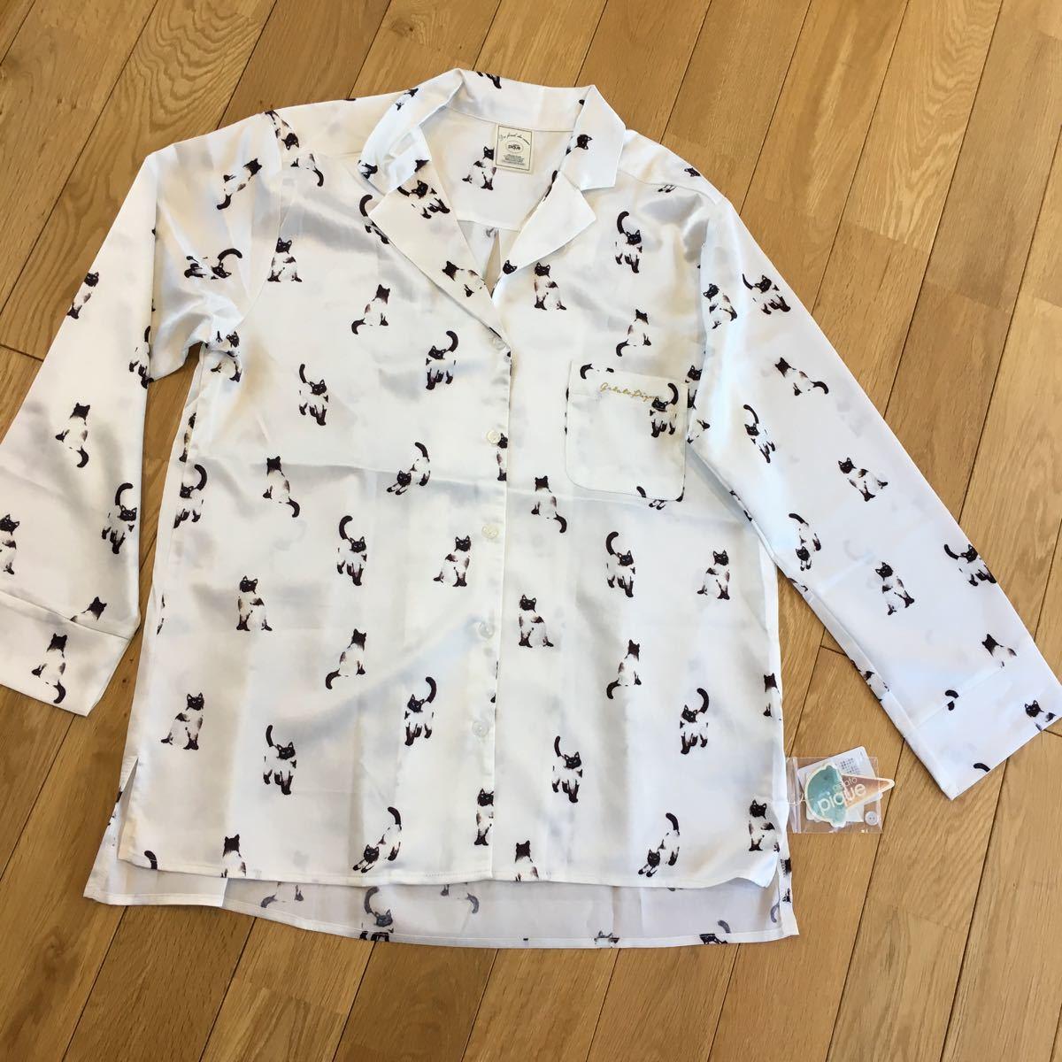 新品 ジェラートピケ キャットサテンシャツ 猫柄 長袖トップス タグ付き 即決 ルームウェア 部屋着 パジャマ オフホワイト_画像4