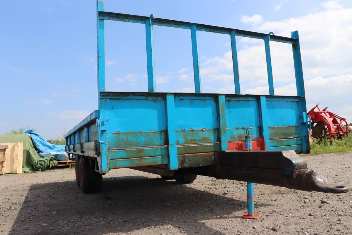 表面サビあり 実動品 3方開き コンバイン トレーラー 4本 タイヤ 運搬車 積載 直接引き取 十和田市から出品_画像5