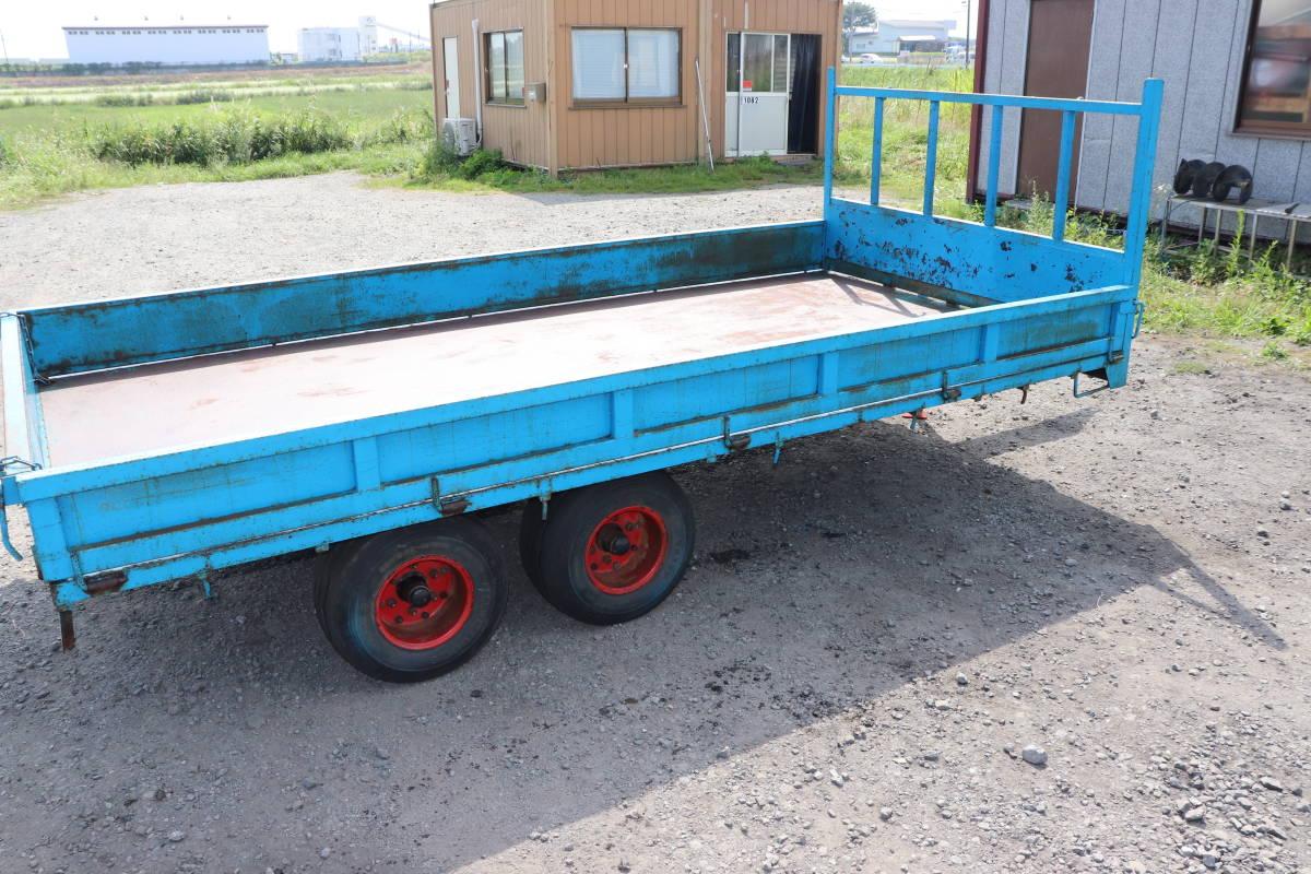 表面サビあり 実動品 3方開き コンバイン トレーラー 4本 タイヤ 運搬車 積載 直接引き取 十和田市から出品_画像6