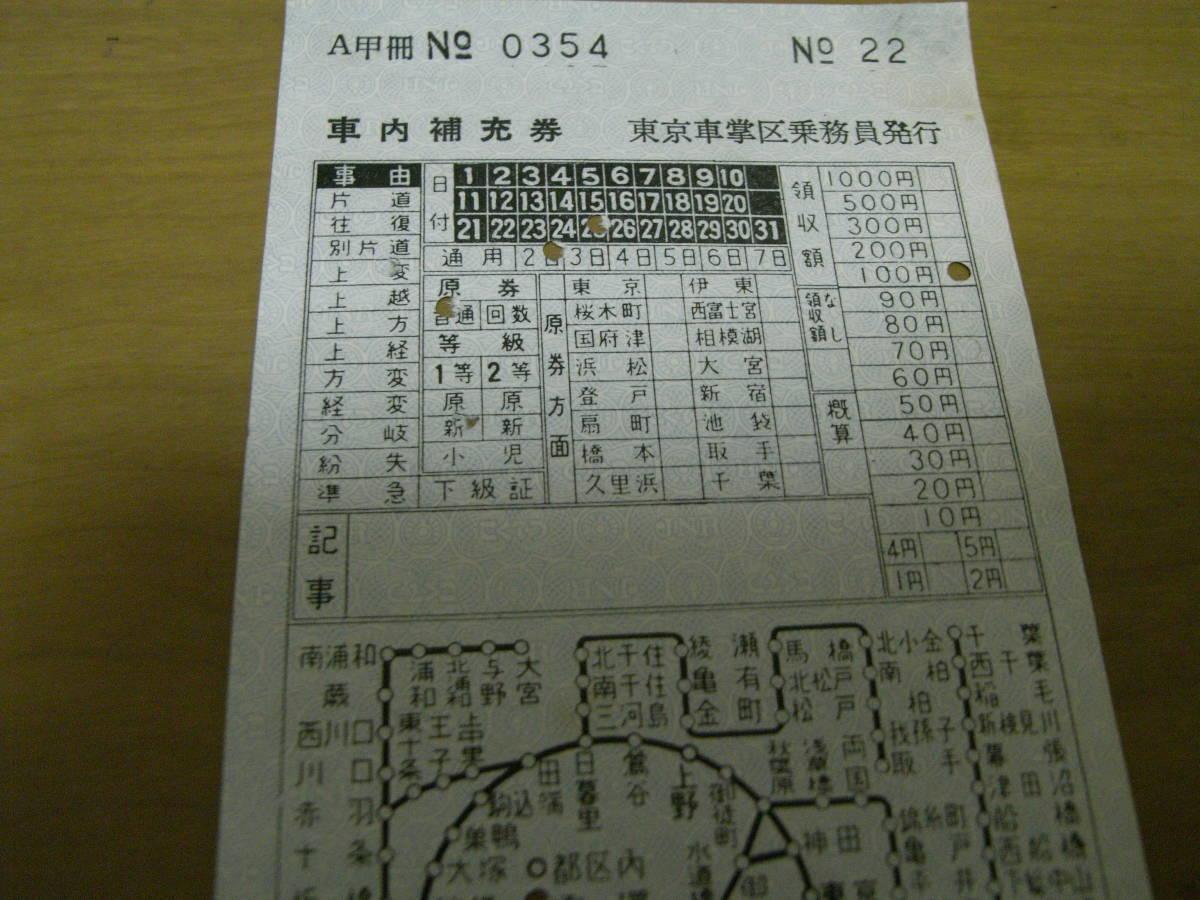 車内補充券 東京車掌区乗務員発行 昭和46年以前? _画像2