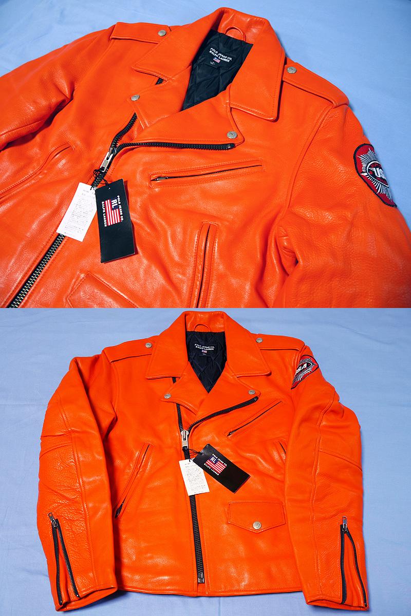 【送料無料】RALPH LAUREN ラルフローレン 本革ライダースジャケット オレンジ S(実質M~Lサイズ) 新品_画像2