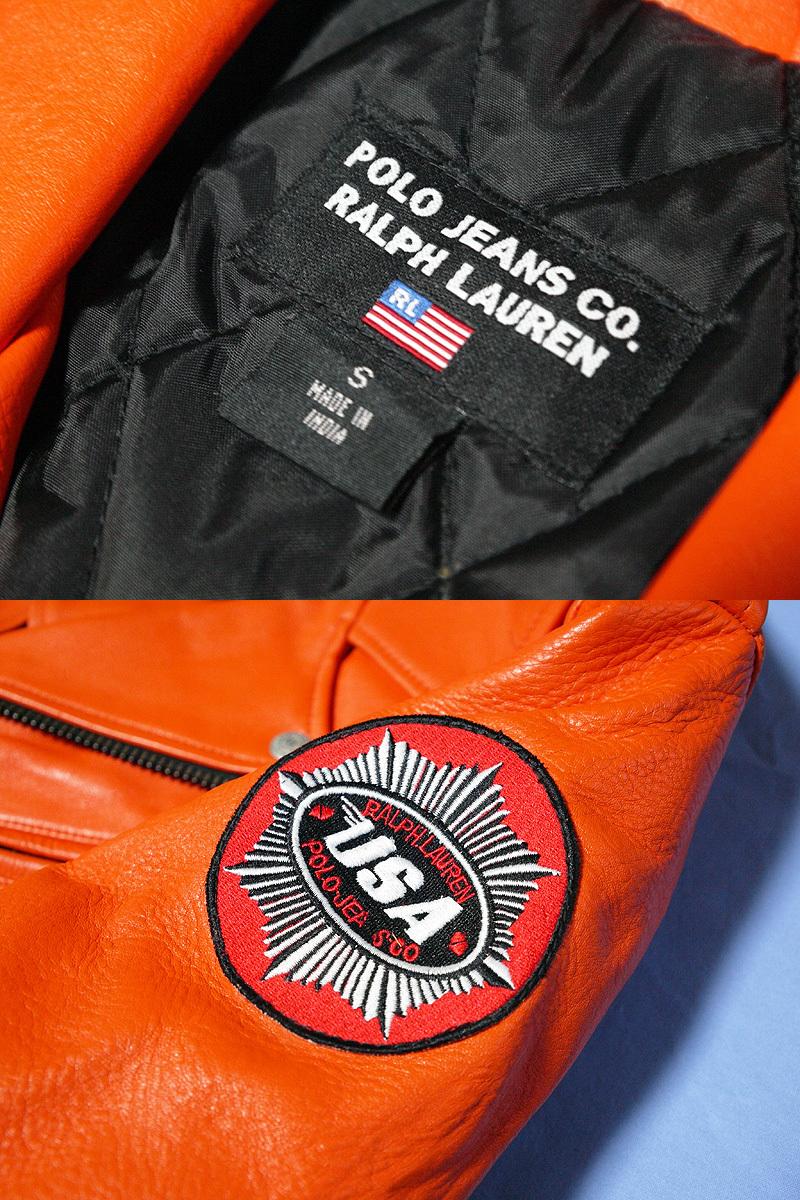 【送料無料】RALPH LAUREN ラルフローレン 本革ライダースジャケット オレンジ S(実質M~Lサイズ) 新品_画像3