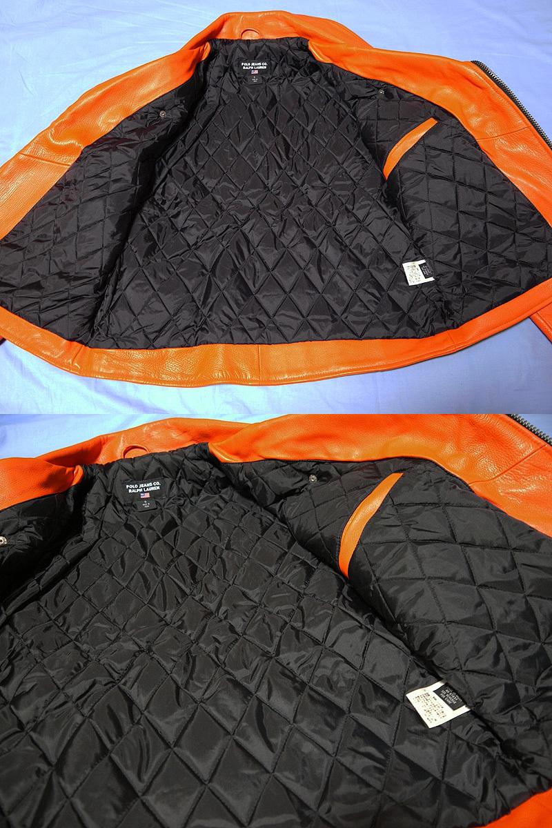 【送料無料】RALPH LAUREN ラルフローレン 本革ライダースジャケット オレンジ S(実質M~Lサイズ) 新品_画像4