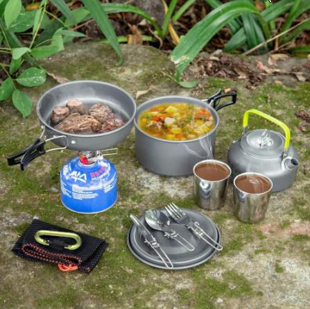 1 セット屋外鍋フライパンキャンプ調理器具ピクニック調理セット k-260_画像6