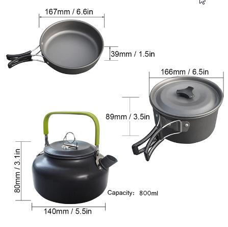 1 セット屋外鍋フライパンキャンプ調理器具ピクニック調理セット k-260_画像3