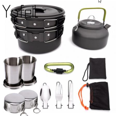 1 セット屋外鍋フライパンキャンプ調理器具ピクニック調理セット k-260_画像1