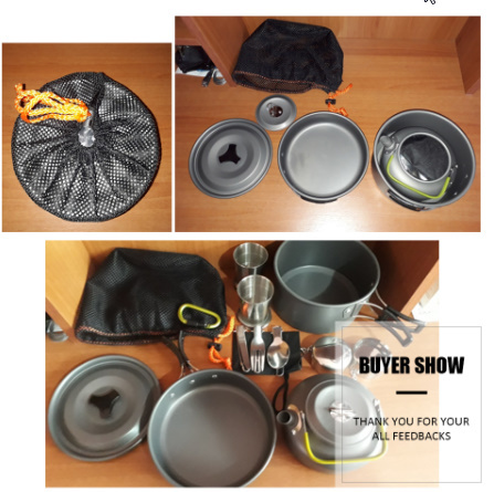 1 セット屋外鍋フライパンキャンプ調理器具ピクニック調理セット k-260_画像5