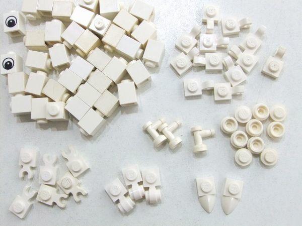 [WT196] 白 White 牙・爪・1 x 1 パーツ 種類 色々 約81個セット kg_画像3