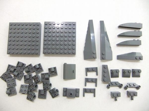 [WT60] 新濃灰 Dark Bluish Gray 大きい 8 x 8ブロック・乗り物系 パーツ 種類 色々 大量 約39個セット kg_画像1