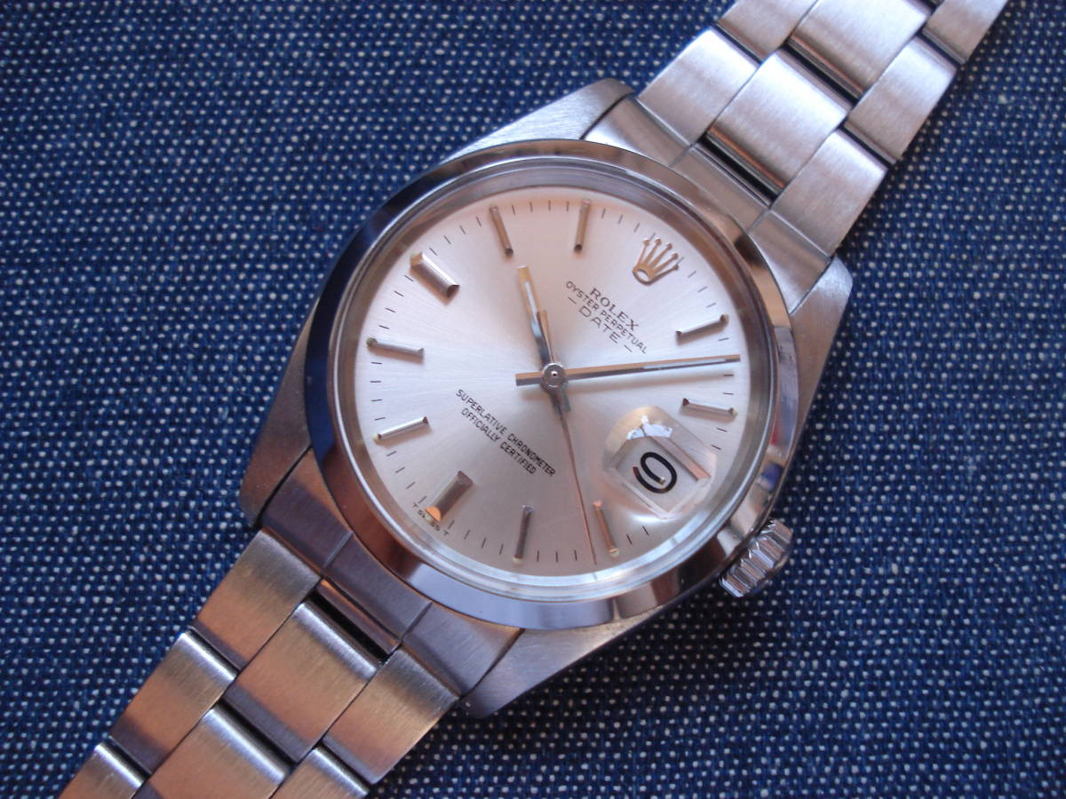 OYSTER PERPETUAL DATE 自動巻 1500 シルバー文字盤 O/H済 美品 (センター・スプリット