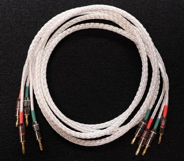 未使用新古 送料無料 kimber kable 8AGと同素材 純銀 スピーカーケーブル 2m ペア MONSTER CABLE製プラグ バナナラグxバナナラグ