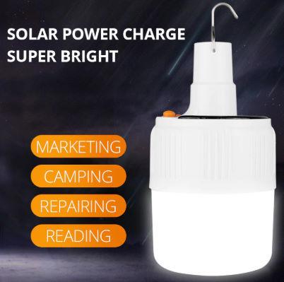 充電式 LED 電球 ランプ ソーラー 充電 ポータブル 緊急 停電 ナイト マーケット ライト 屋外 アウトドア キャンプ 防災 M302_画像1