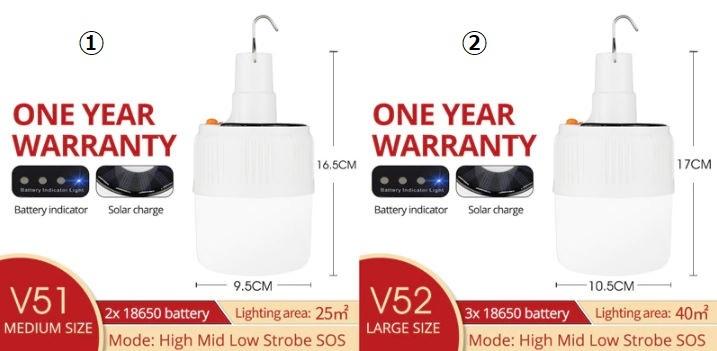 充電式 LED 電球 ランプ ソーラー 充電 ポータブル 緊急 停電 ナイト マーケット ライト 屋外 アウトドア キャンプ 防災 M302_画像3