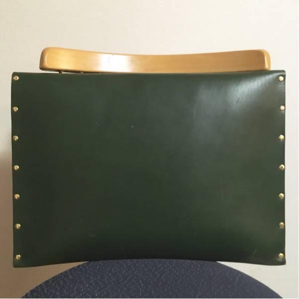 【送料無料】 定価3.5万 栃木レザー 大判 クラッチ バッグ 緑 オーダー 本革製品 かばん ビンテージ 40s50s60s70s80s90s_画像3