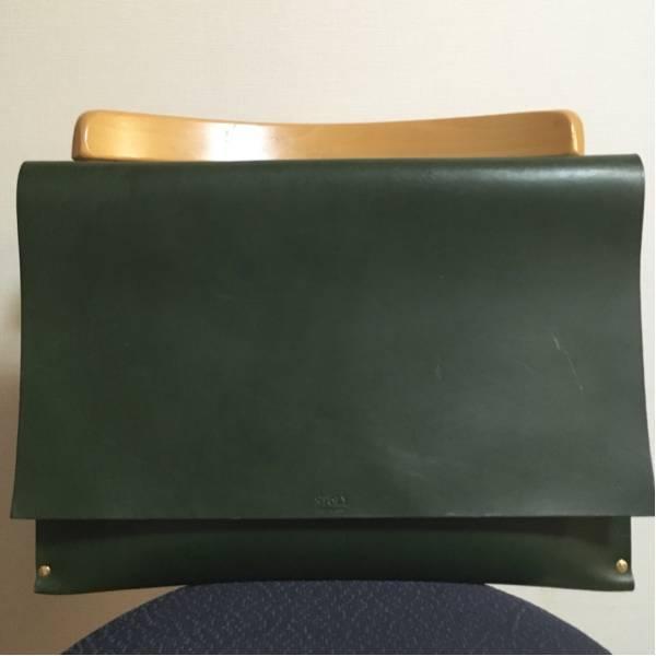 【送料無料】 定価3.5万 栃木レザー 大判 クラッチ バッグ 緑 オーダー 本革製品 かばん ビンテージ 40s50s60s70s80s90s_画像1
