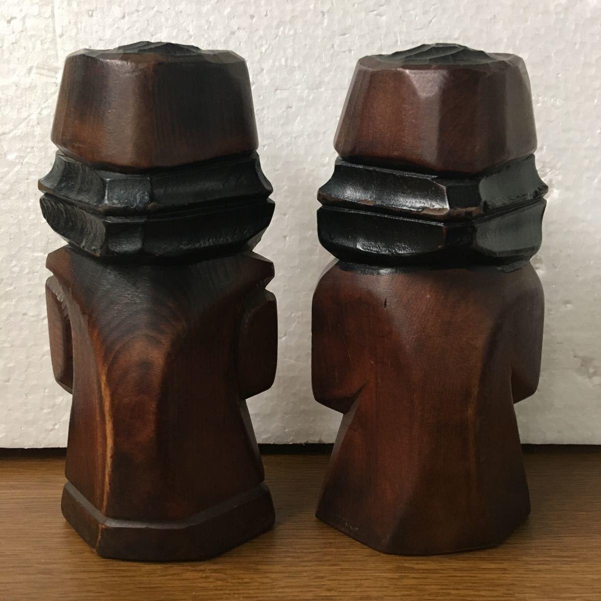アイヌ ニポポ 男女 木彫り 民芸品 18cm 魔除け_画像4