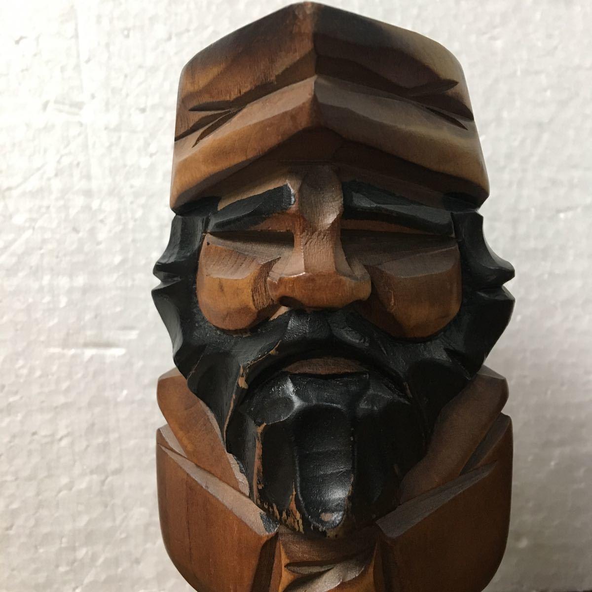 アイヌ ニポポ 男女 木彫り 民芸品 18cm 魔除け_画像2