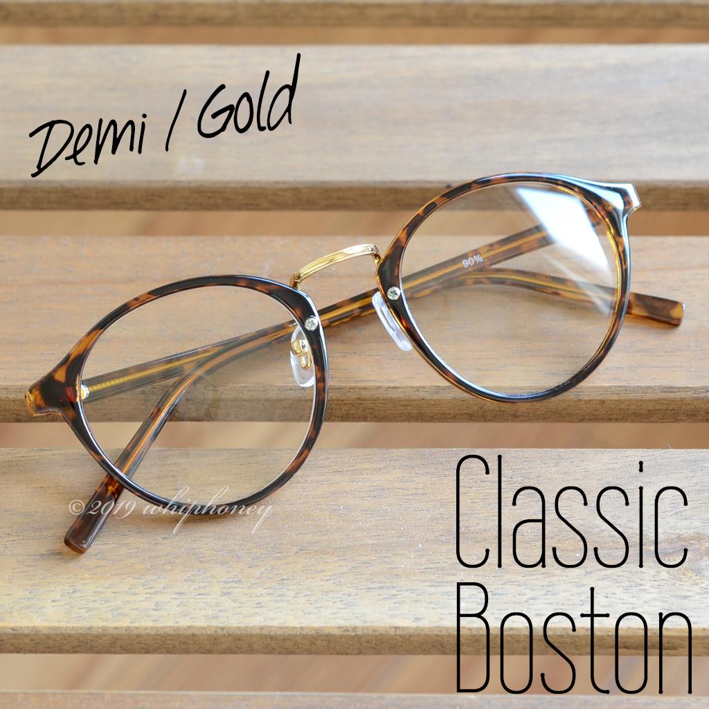 送料無料 レトロクラシックボストンメガネUV 伊達眼鏡 だてめがね デミ べっ甲 ゴールド ブラウン サングラス メンズ レディース_画像3