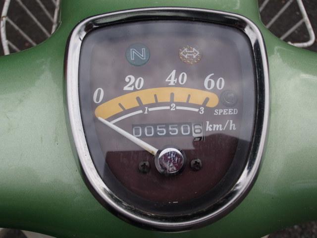 即決 リトルカブ 3速 走行距離 550km 自賠責付き 低走行 スプリングターフグリーンメタリック セル無し カゴ付き_画像2