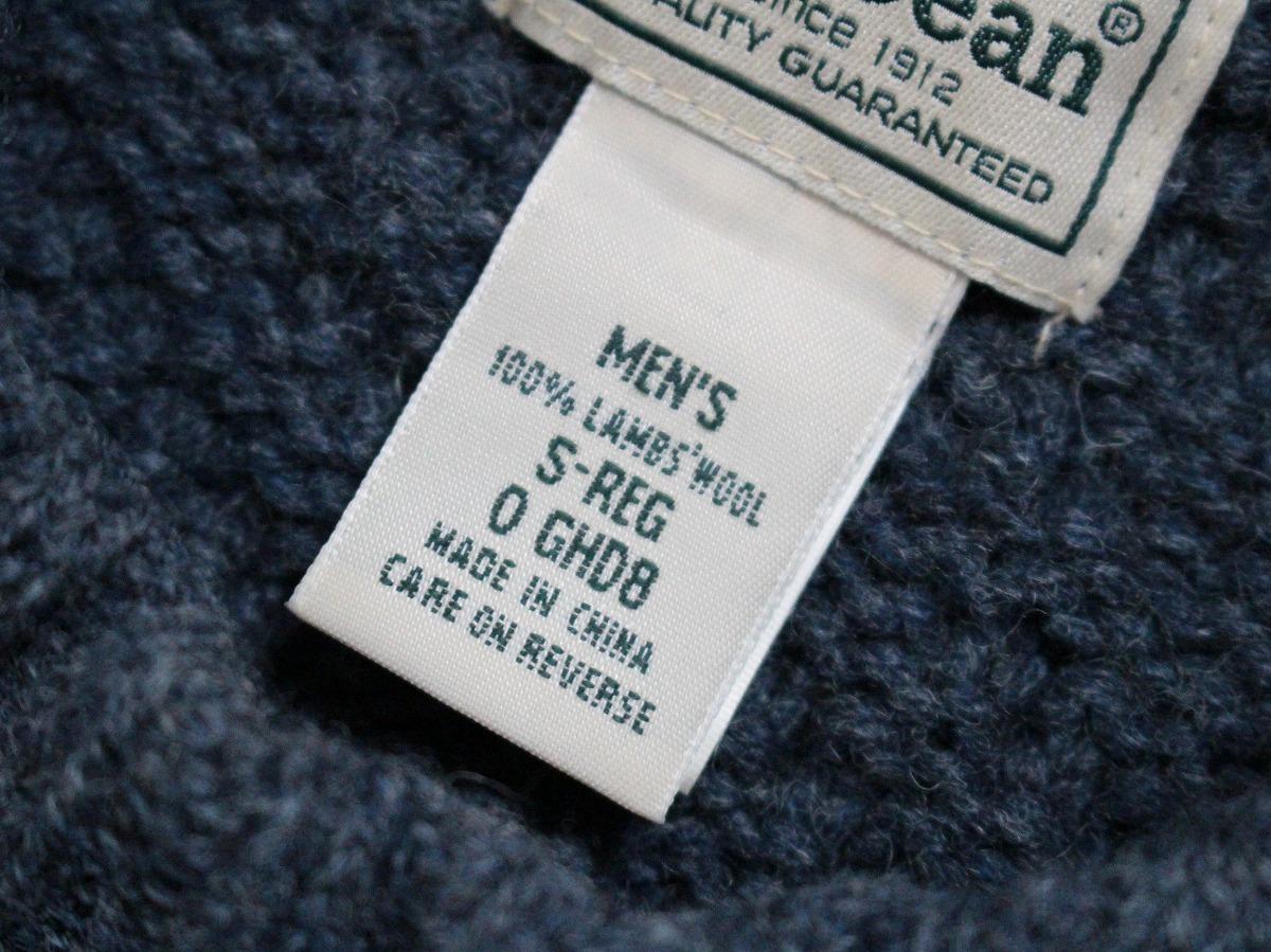 エルエルビーン L.L.BEAN ★ ラム ウールニット クルーネック セーター サイズS/メンズ ケーブル ★_画像3