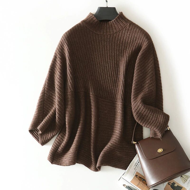 new goods pretty * lady's yak wool knitted sweater is f high‐necked easy Brown free