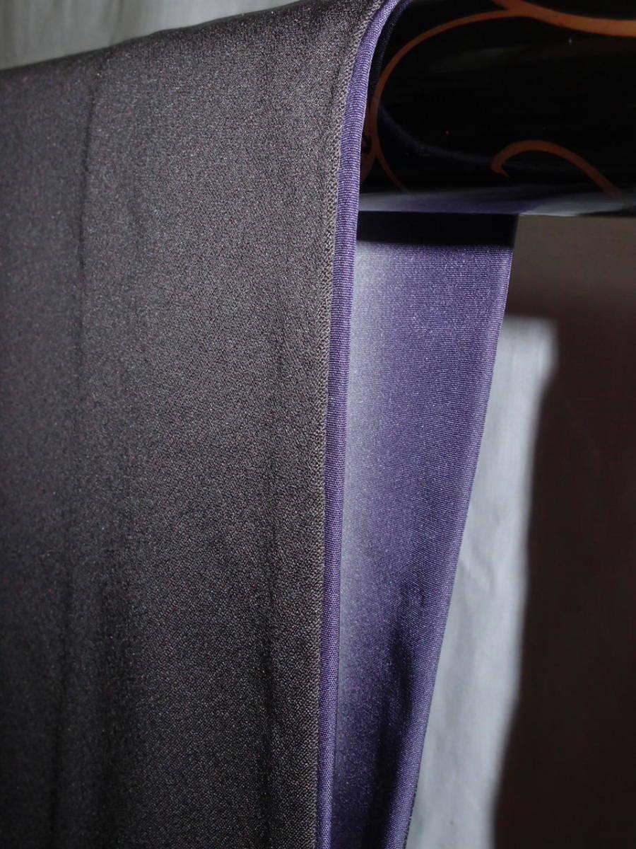 袷 美品 トープ色(灰みの焦茶)日本刺繍 竹屋町刺繍 身丈160cm裄67cm 付け下げ 花短冊 金箔 正絹 やや細身 追加画像あり_画像5