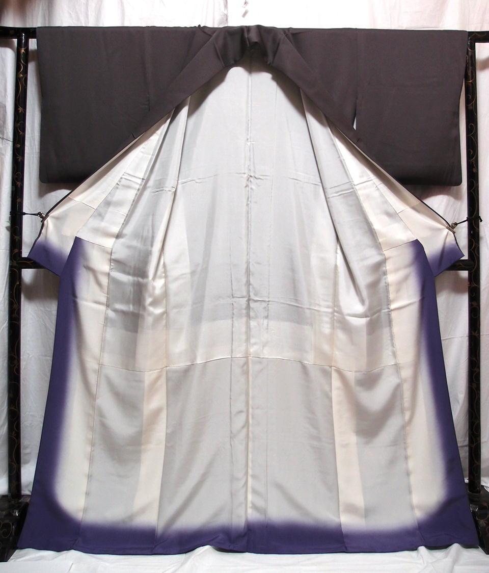 袷 美品 トープ色(灰みの焦茶)日本刺繍 竹屋町刺繍 身丈160cm裄67cm 付け下げ 花短冊 金箔 正絹 やや細身 追加画像あり_画像6