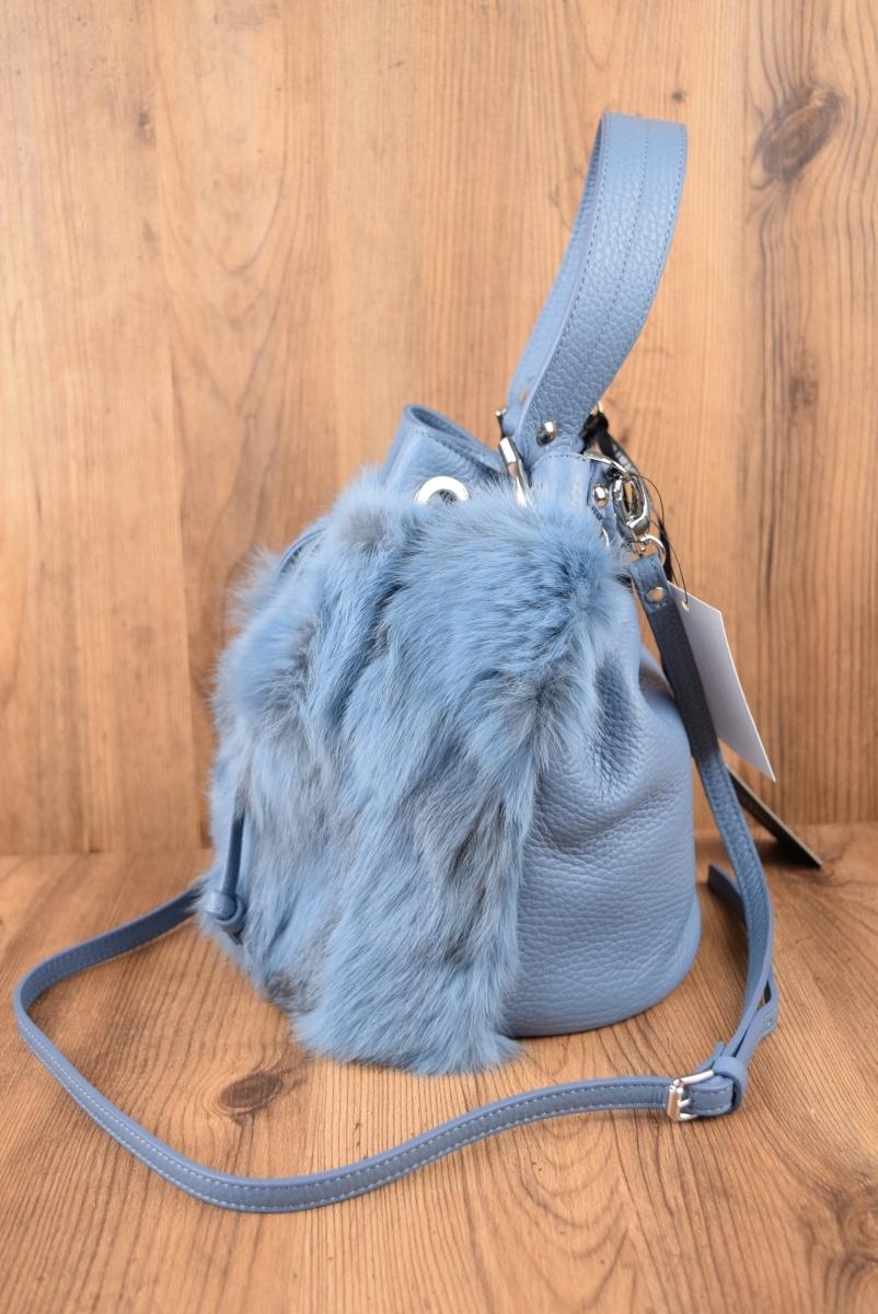 新品 定価 3万2184円 GIANNI NOTARO CAROL J イタリア製 2WAY ファー 巾着バッグ ショルダーバッグ ハンド バッグ