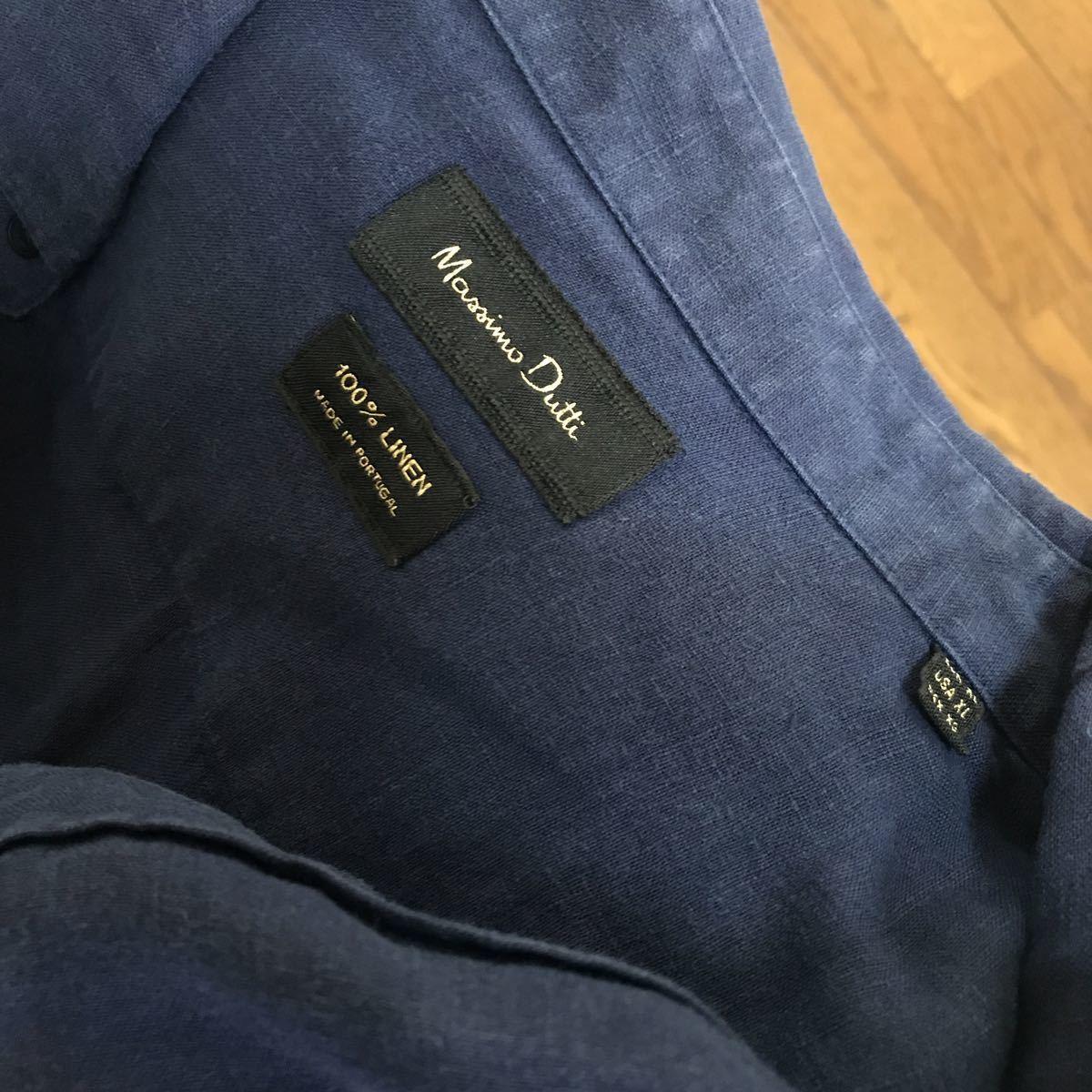 長袖シャツ 紺色シャツ マッシモドゥッティ Massimo Dutti リネンシャツ リネン100 USED 美品 サイズXL