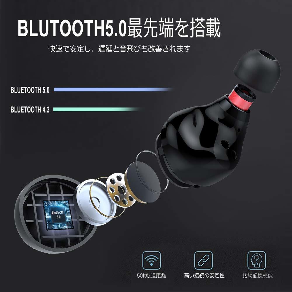 イヤホン イヤフォン  ワイヤレス iPhone Android Bluetooth  マイク 左右分離型  超軽量 両耳通話 高音質 _画像3