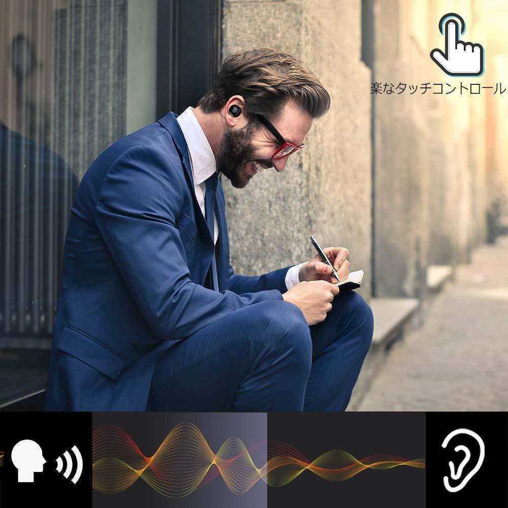イヤホン イヤフォン  ワイヤレス iPhone Android Bluetooth  マイク 左右分離型  超軽量 両耳通話 高音質 _画像4