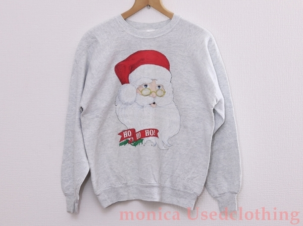 MD018◆クリスマストレーナー*サンタクロース*アグリークリスマス*パーティー*ダサかわ*SNS映え*グレー*Lサイズ_画像1