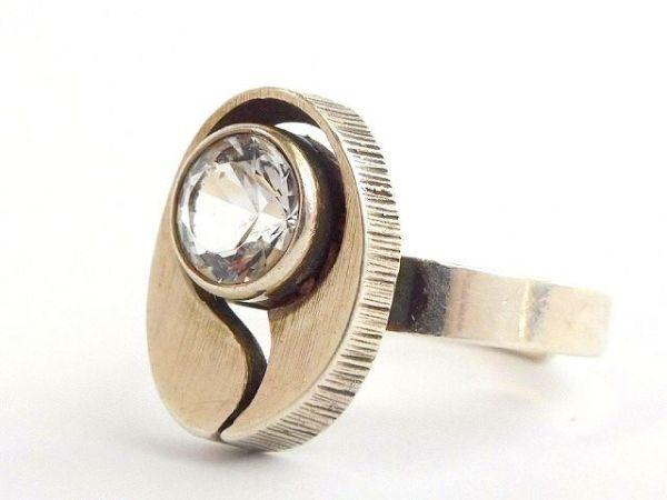 北欧 フィンランド製 1970年代 Sten & Laine スカンジナビア モダン デザイナー シルバー製 ロック クリスタル リング 指輪 14号 /12505_画像3