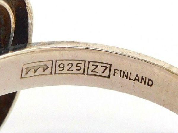 北欧 フィンランド製 1970年代 Sten & Laine スカンジナビア モダン デザイナー シルバー製 ロック クリスタル リング 指輪 14号 /12505_画像8