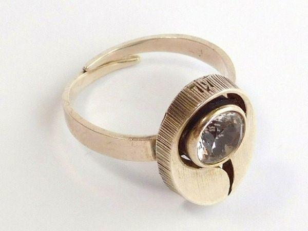 北欧 フィンランド製 1970年代 Sten & Laine スカンジナビア モダン デザイナー シルバー製 ロック クリスタル リング 指輪 14号 /12505_画像6