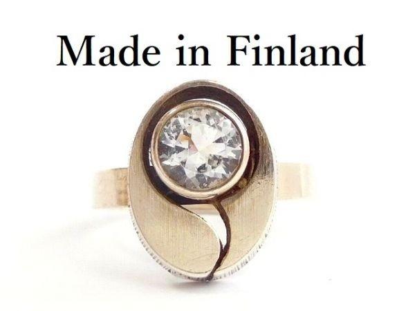 北欧 フィンランド製 1970年代 Sten & Laine スカンジナビア モダン デザイナー シルバー製 ロック クリスタル リング 指輪 14号 /12505_画像1