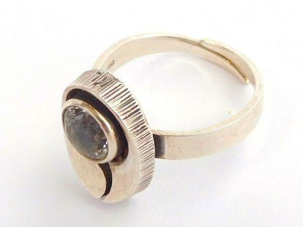 北欧 フィンランド製 1970年代 Sten & Laine スカンジナビア モダン デザイナー シルバー製 ロック クリスタル リング 指輪 14号 /12505_画像5
