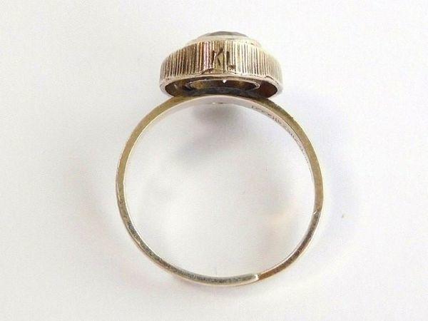 北欧 フィンランド製 1970年代 Sten & Laine スカンジナビア モダン デザイナー シルバー製 ロック クリスタル リング 指輪 14号 /12505_画像7
