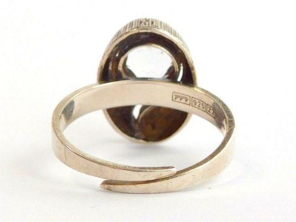 北欧 フィンランド製 1970年代 Sten & Laine スカンジナビア モダン デザイナー シルバー製 ロック クリスタル リング 指輪 14号 /12505_画像9