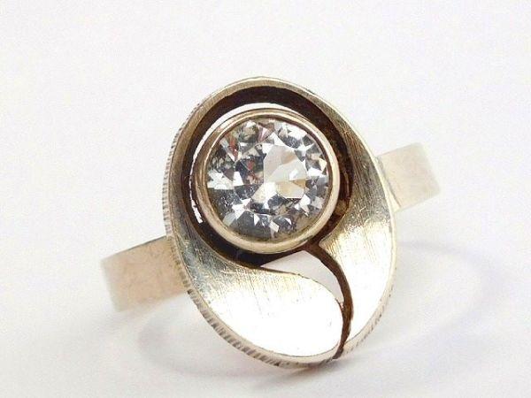 北欧 フィンランド製 1970年代 Sten & Laine スカンジナビア モダン デザイナー シルバー製 ロック クリスタル リング 指輪 14号 /12505_画像10