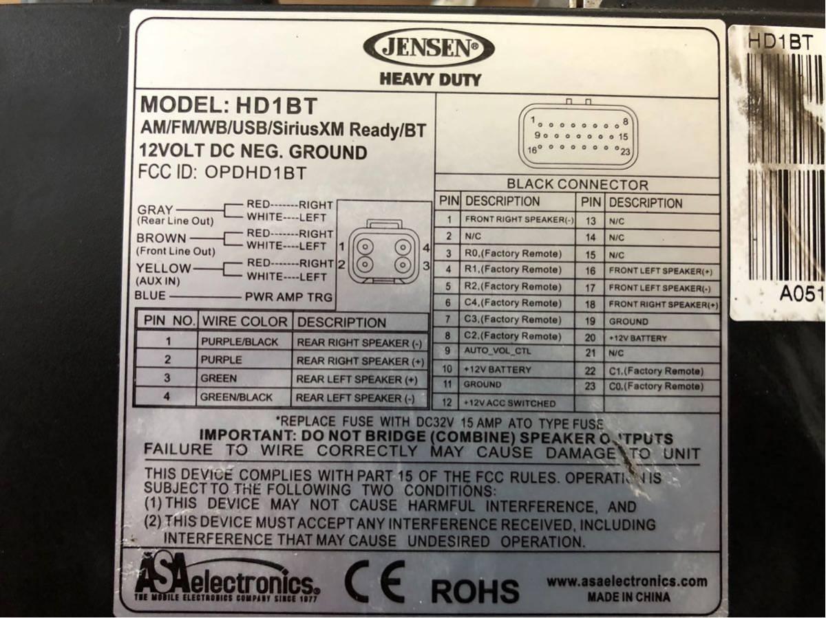JENSEN/HD1BT 純正互換デッキ 4CHアンプ内蔵 ブルートゥース、iPOD対応 ジェンセン ハーレー オーディオ Bluetooth _画像4