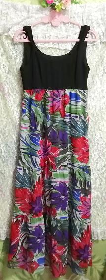 黒トップスアート花柄スカートノースリーブマキシワンピース日本製 Black tops art floral skirt sleeveless maxi onepiece made in japan_画像5