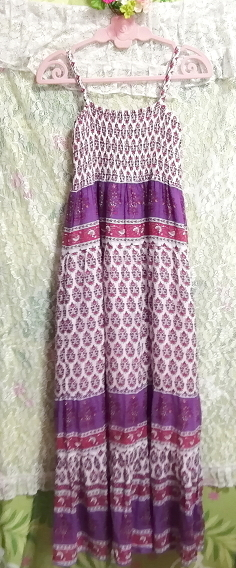 ROTEROSE 紫白赤エスニック柄コットン100%ロングマキシワンピース Purple white red ethnic pattern 100% cotton long maxi onepiece_画像4