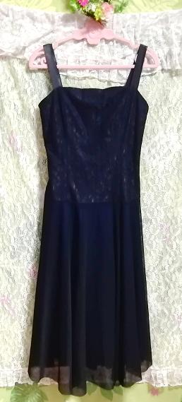 紺ネイビーレースシフォンノースリーブワンピースドレス Navy lace chiffon sleeveless onepiece dress_画像4