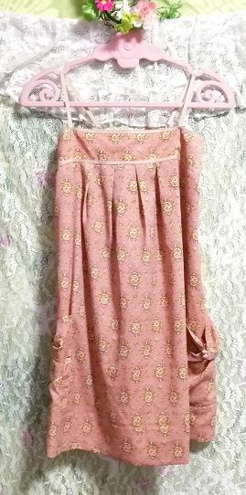 ピンクベージュエスニック柄キャミソールトップス日本製 Pink beige ethnic pattern camisole tops made in japan_画像3