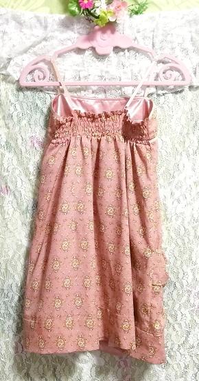 ピンクベージュエスニック柄キャミソールトップス日本製 Pink beige ethnic pattern camisole tops made in japan_画像4