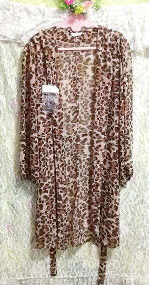 茶色ヒョウ柄シフォンシースルーブラウス羽織ロングカーディガンタグ付 Brown leopard print chiffon long cardigan_画像3