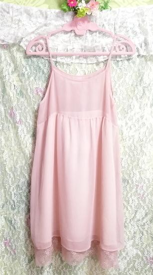 ピンクシースルーシフォンレースキャミソールワンピース日本製 Pink chiffon lace camisole onepiece made in japan_画像1