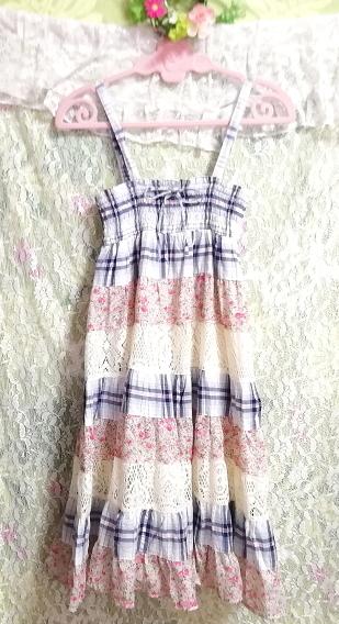 青チェックピンク花柄白レースキャミソールワンピース Blue pink floral pattern white lace camisole onepiece_画像4